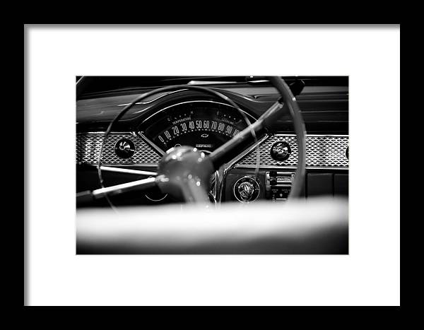 1955 Chevy Bel Air Dashboard In Black And White Framed Print By