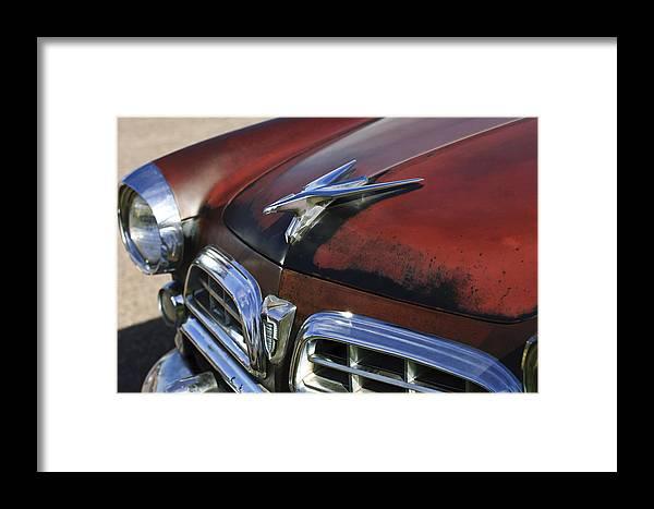 1955 Chrysler Windsor Deluxe Framed Print featuring the photograph 1955 Chrysler Windsor Deluxe Hood Ornament by Jill Reger