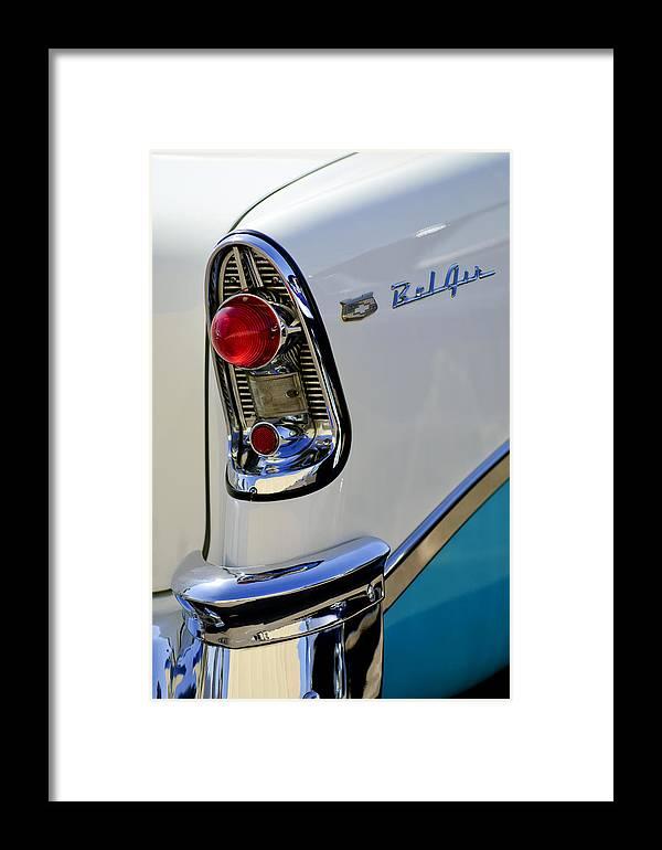 1956 Chevrolet Belair Framed Print featuring the photograph 1956 Chevrolet Belair Taillight Emblem by Jill Reger