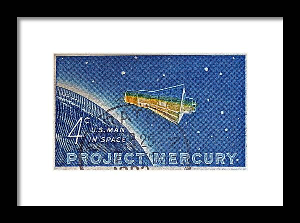 1962 Framed Print featuring the photograph 1962 Man In Space Stamp by Bill Owen