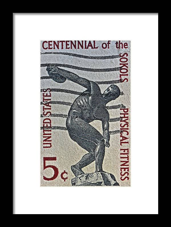 1965 Physical Fitness Stamp Framed Print featuring the photograph 1965 Physical Fitness Stamp by Bill Owen