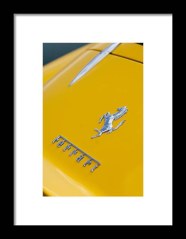 1967 Ferrari 275 Gtb4 Framed Print featuring the photograph 1967 Ferrari 275 Gtb4 Emblem 3 by Jill Reger