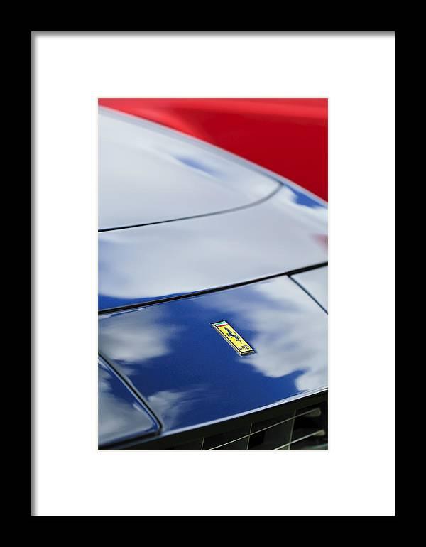 1972 Ferrari 365 Gtb 6c Framed Print featuring the photograph 1972 Ferrari 365 Gtb 6c Emblem by Jill Reger