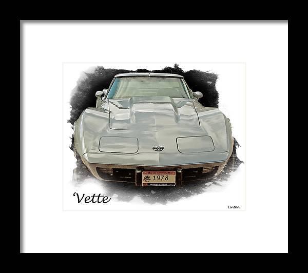 Chevrolet Corvette Framed Print featuring the digital art 1978 Corvette by Larry Linton