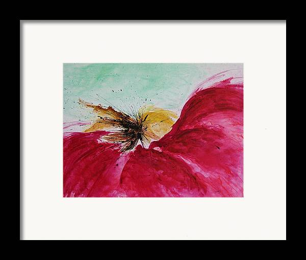 Abstract Art Framed Print featuring the painting Abstract Flower by Ismeta Gruenwald