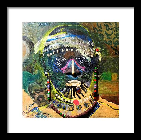 Painting Framed Print featuring the painting African Bead Painting by Mohamed-saeed Omer