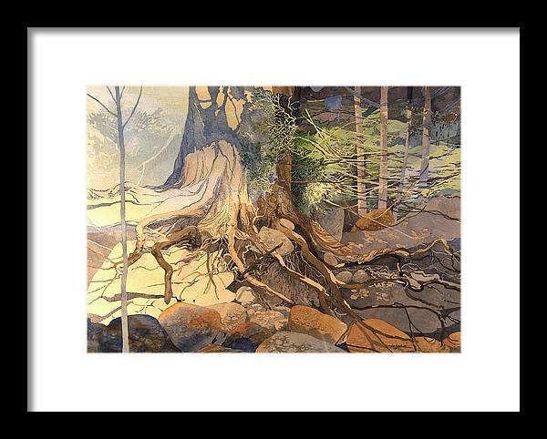 Landscape Framed Print featuring the painting Ancient Witness II by Lin Souliere