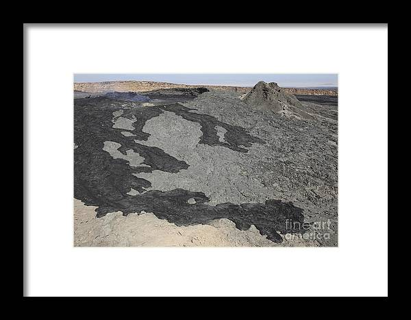 Hornito Framed Print featuring the photograph Basaltic Lava Flow From Pit Crater by Richard Roscoe