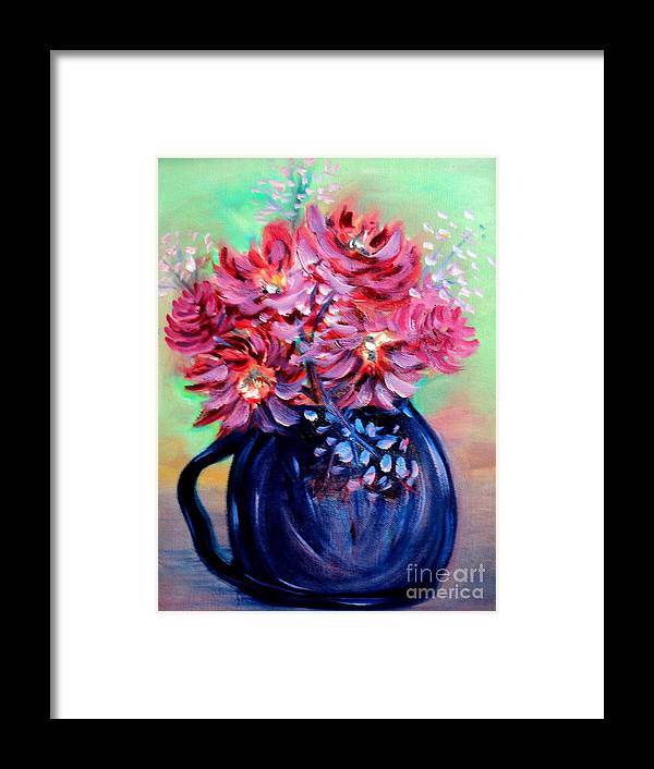 Oil Paintings Framed Print featuring the painting Blue Vase by Janice Robertson