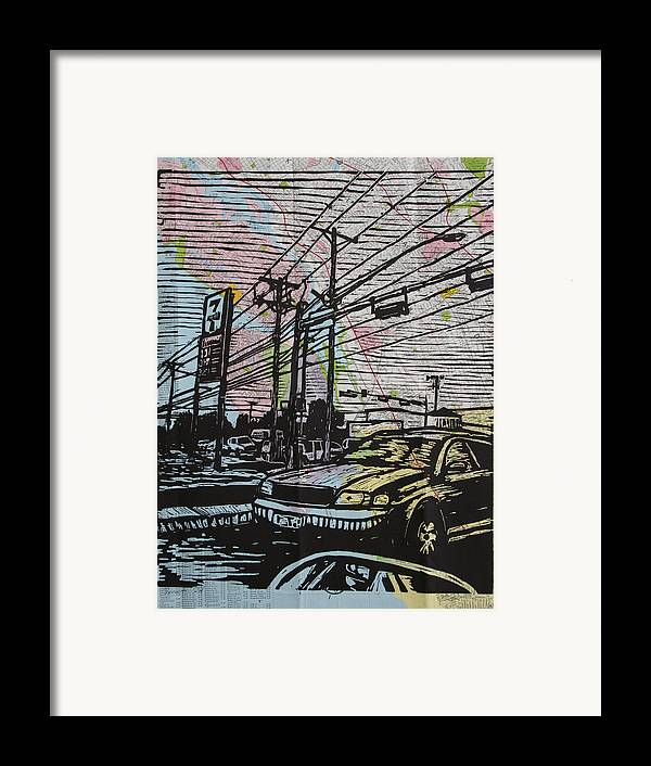 Lino Framed Print featuring the drawing Burnet Road by William Cauthern