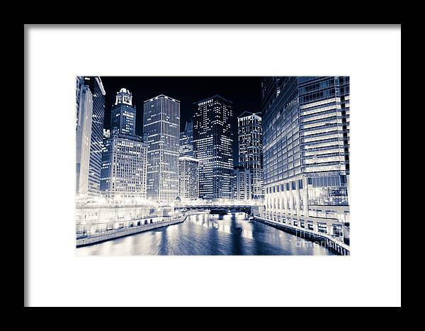 America Framed Print featuring the photograph Chicago River Buildings At Night by Paul Velgos