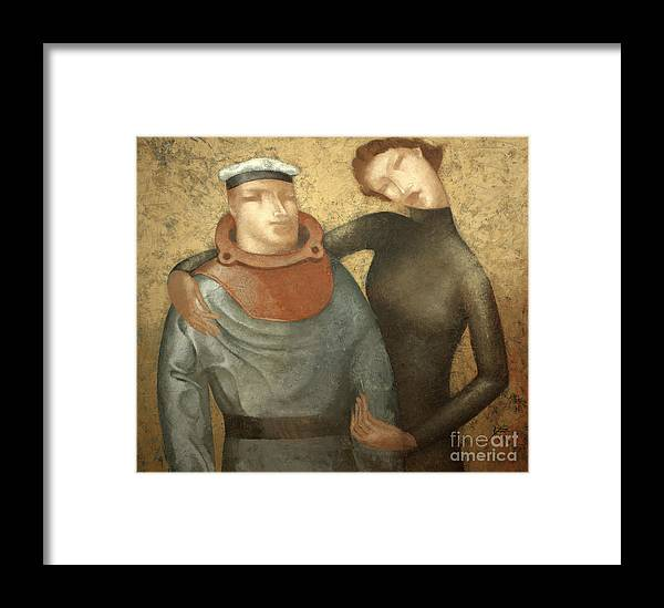Framed Print featuring the painting Divers by Nicolay Reznichenko