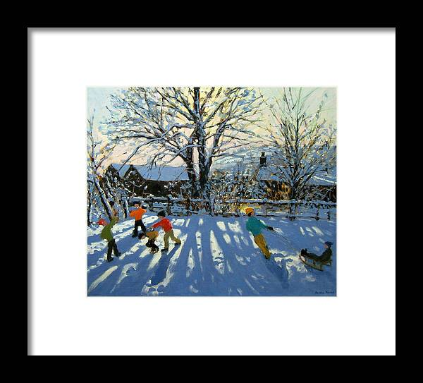 Sledge Framed Print featuring the painting Fun In The Snow by Andrew Macara