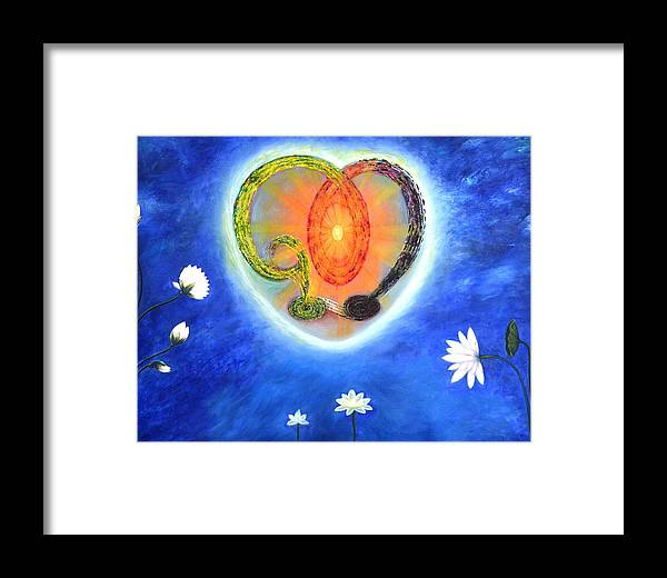 Spritual Framed Print featuring the painting God Lives In My Heart by Rohit kumar Vohra