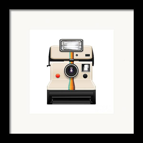 Analog Framed Print featuring the photograph Instant Camera With A Blank Photo by Setsiri Silapasuwanchai