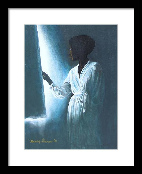 Portrait;shadow;light;figure Composition; Mood; Portrait Painting; Figure Painting Framed Print featuring the painting Kuliema by Howard Stroman