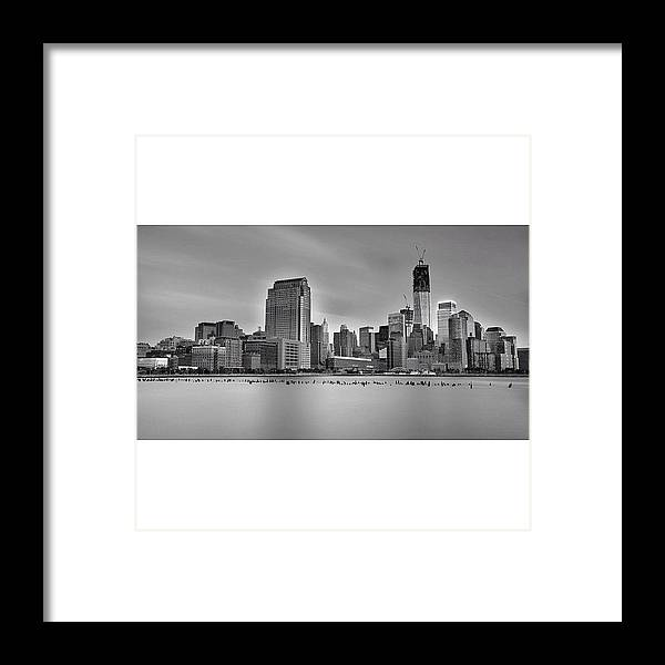 Framed Print featuring the photograph Long Exposure Panorama Of The Manhattan by Larry Marshall