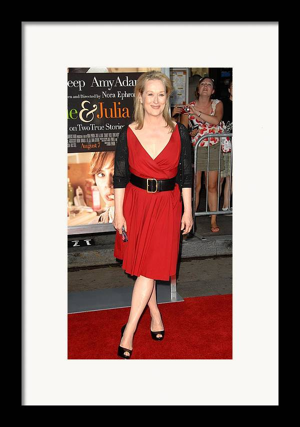 Meryl Streep Framed Print featuring the photograph Meryl Streep At Arrivals For Julie & by Everett