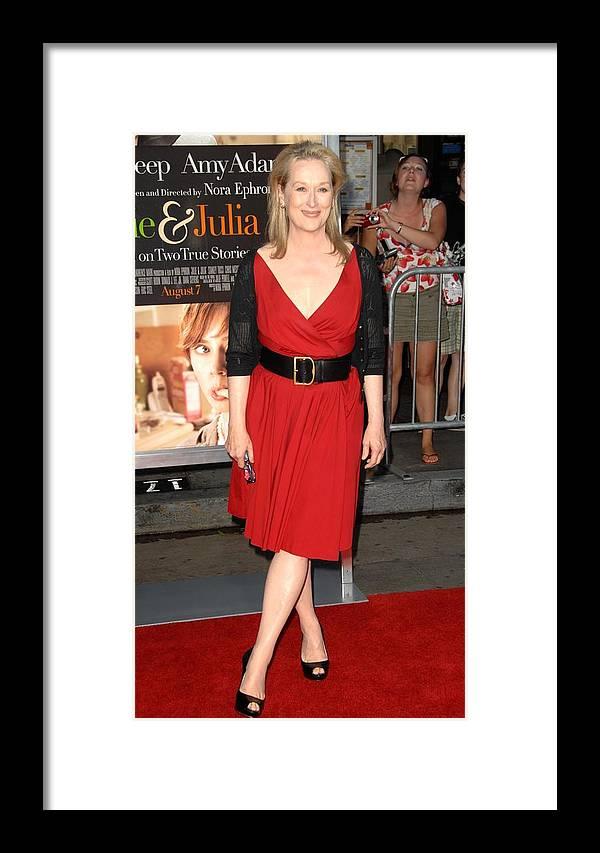 Meryl Streep Framed Print featuring the photograph Meryl Streep At Arrivals For Julie & by Everett