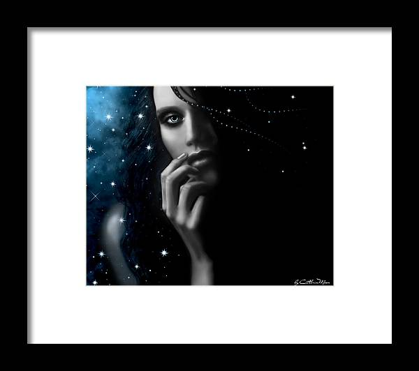 Stars Framed Print featuring the digital art Mystery by Catherin Moon