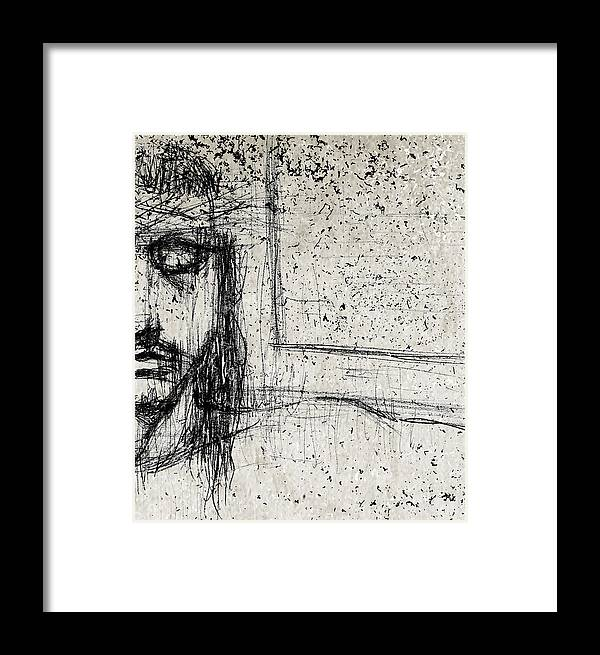 Pencil Framed Print featuring the mixed media Nothing Left But Faith by Karen Clark