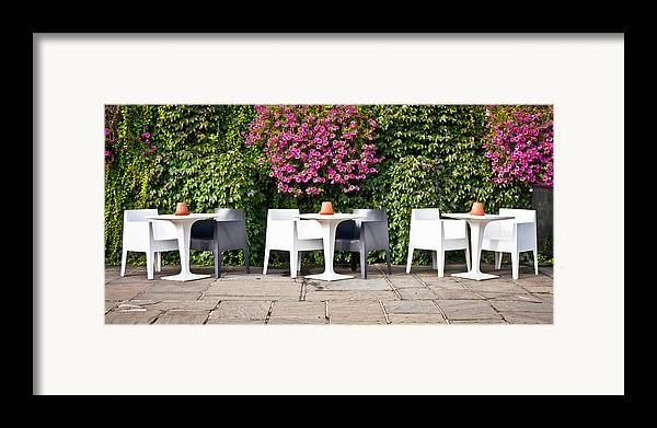 Bright Framed Print featuring the photograph Outdoor Cafe by Tom Gowanlock