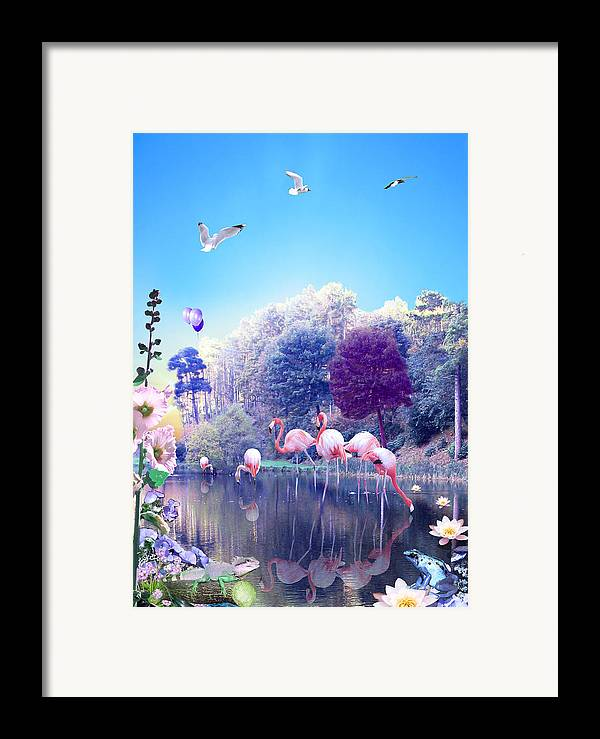 Landscape Framed Print featuring the digital art pink Flamingoes by Emily Campbell