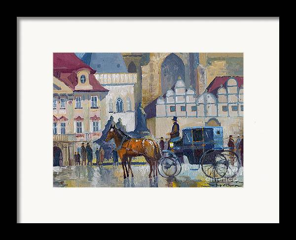 Oil On Canvas Framed Print featuring the painting Prague Old Town Square 01 by Yuriy Shevchuk