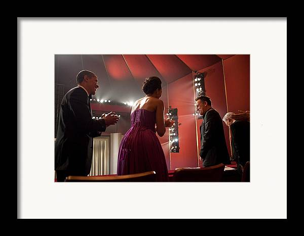 History Framed Print featuring the photograph President And Michelle Obama Applaud by Everett