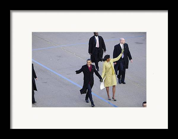 History Framed Print featuring the photograph President And Michelle Obama Wave by Everett