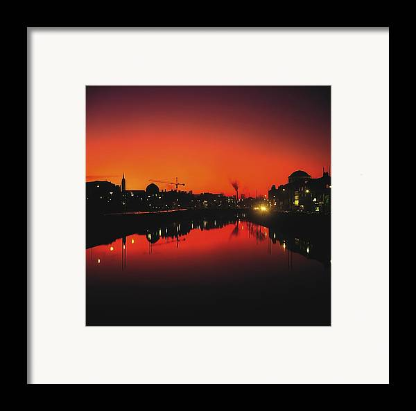 Atmosphere Framed Print featuring the photograph River Liffey, Dublin, Co Dublin, Ireland by The Irish Image Collection