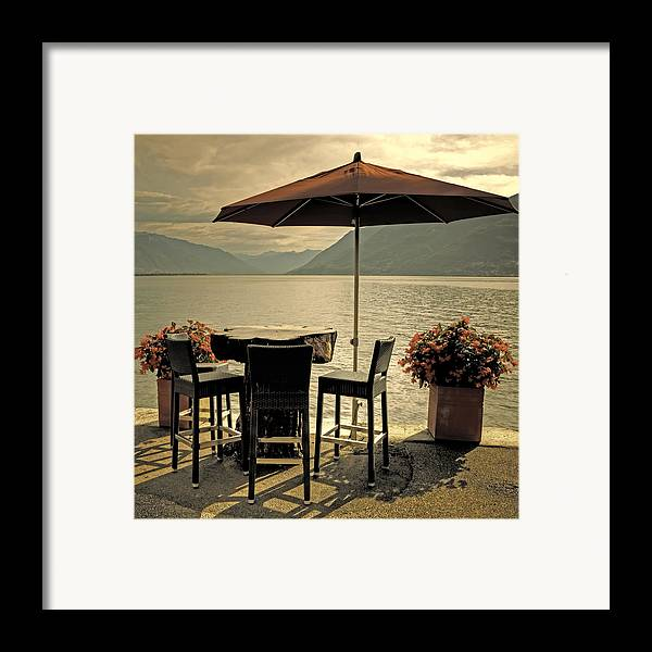 Brissago Framed Print featuring the photograph Table And Chairs by Joana Kruse