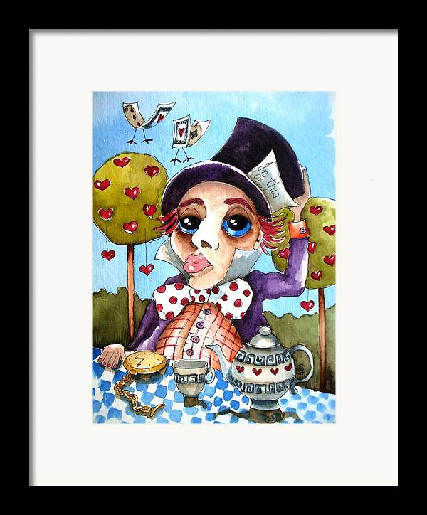 Alice Framed Print featuring the painting The Mad Hatter by Lucia Stewart