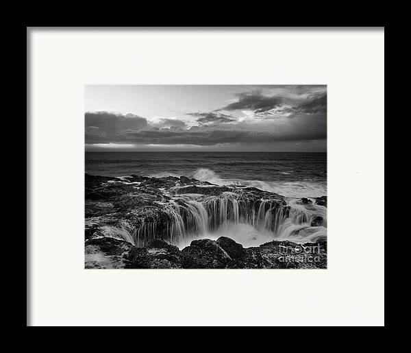 Black And White Photography Framed Print featuring the photograph Thor's Well by Keith Kapple