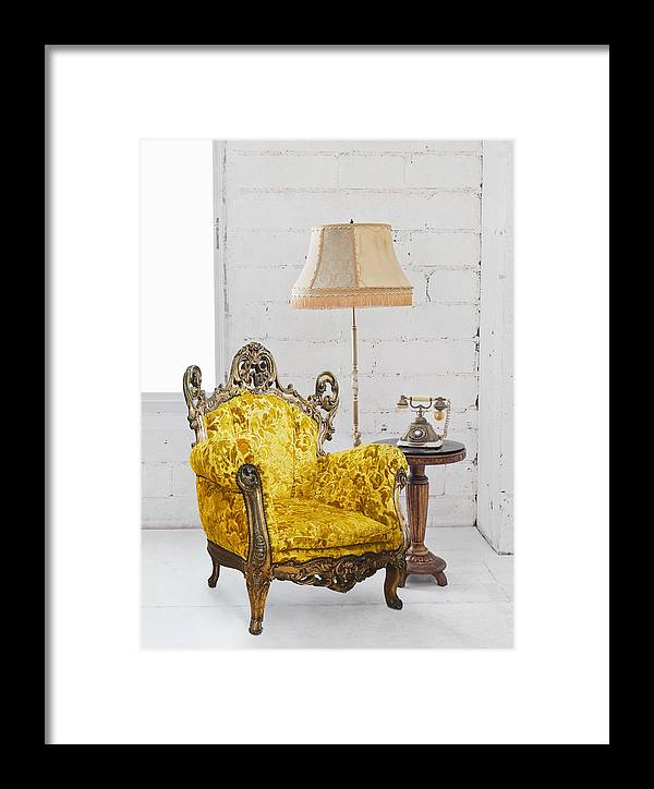 Antique Framed Print featuring the photograph Victorian Sofa In White Room by Setsiri Silapasuwanchai