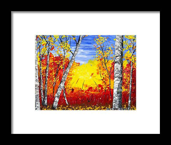 Birch Tree Painting Framed Print featuring the painting White Birch Tree Abstract Painting In Autumn by Keith Webber Jr