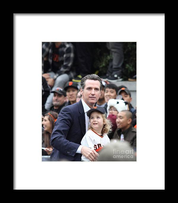 World Series Champions Framed Print featuring the photograph 2012 San Francisco Giants World Series Champions Parade - Gavin Newsom - Dpp0005 by Wingsdomain Art and Photography
