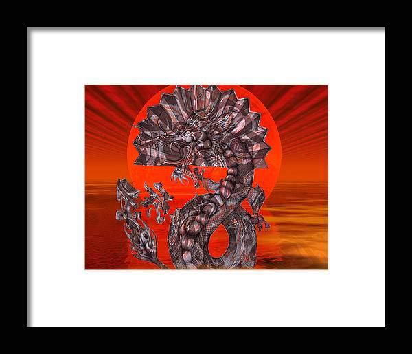 Pencil Drawing Framed Print featuring the digital art 288 Rising Sun Krytose by Scott Bishop