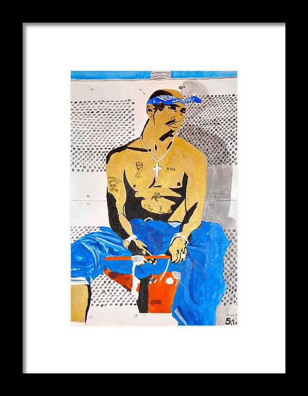 Tupac Framed Print featuring the painting 2pac by Estelle BRETON-MAYA