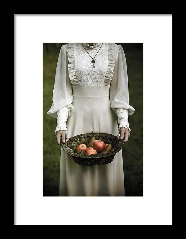 Woman Framed Print featuring the photograph Basket With Fruits by Joana Kruse