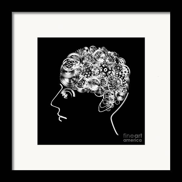 Art Framed Print featuring the photograph Brain Design By Cogs And Gears by Setsiri Silapasuwanchai