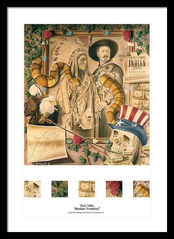 Indians Framed Print featuring the painting Broken Promises by Rich Milo