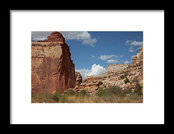 Capitol Reef National; Park; Cathedral Valley; Utah; Travel; Grand Circle; Southern Utah; Beauty; Sky's; Clouds; Nature; Vista; National Park; Monolith; Sandstone; Desert; Landscape; Scenic; Photography; Vast Framed Print featuring the photograph Captiol Reef National Park by Southern Utah Photography