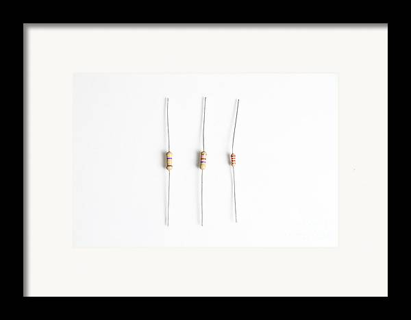 Component Framed Print featuring the photograph Carbon Film Resistors by Photo Researchers, Inc.
