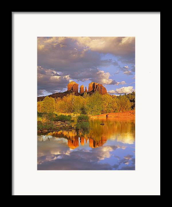 00175721 Framed Print featuring the photograph Cathedral Rock Reflected In Oak Creek by Tim Fitzharris