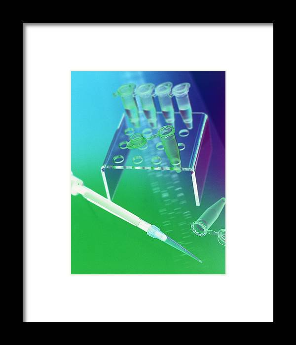 Dna Sequence Framed Print featuring the photograph Dna Research by Tek Image