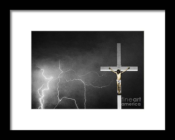 Good Friday Framed Print featuring the photograph Good Friday - Crucifixion Of Jesus Bw by James BO Insogna