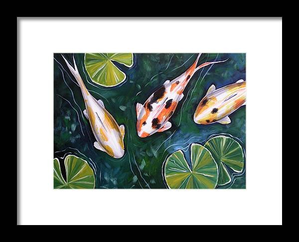 Fish Framed Print featuring the painting 3 Koi by Amy Giacomelli