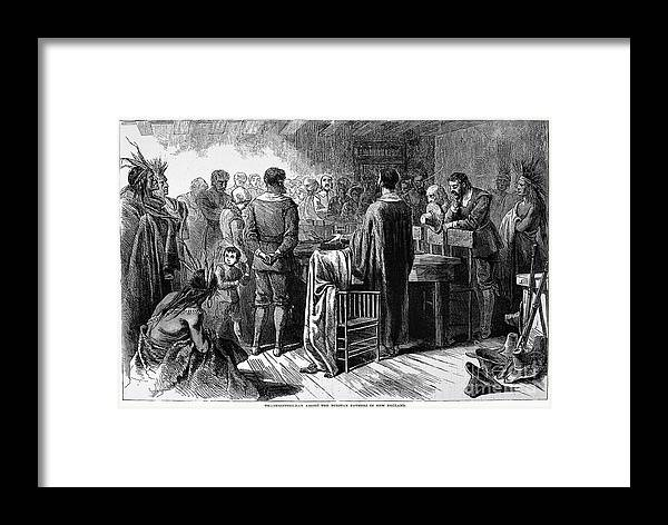 1621 Framed Print featuring the photograph Pilgrims: Thanksgiving, 1621 by Granger