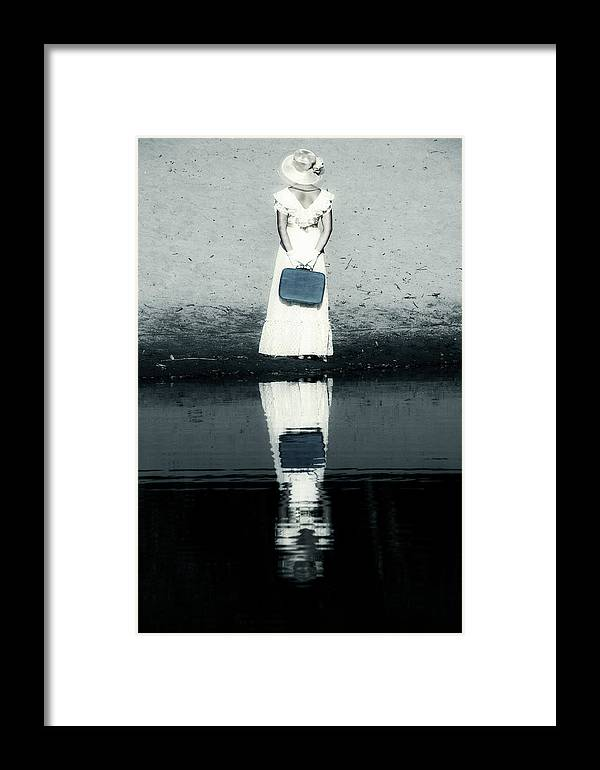 Woman Framed Print featuring the photograph Woman With Suitcase by Joana Kruse